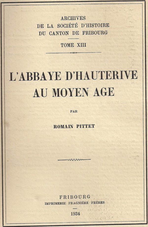 AA13 L'abbaye d'Hauterive au Moyen Age